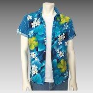 Vintage 1970s Blue Hawaiian Tike Aloha Floral Print Shirt  M L
