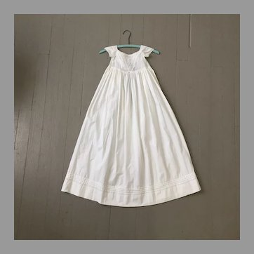 Antique White Christening Gown with Tucks and Delicate Embroidery