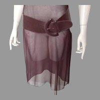 Vintage 1980s Deep Plum Brown Wide Curved Leather Sling Belt M L