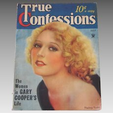 Vintage 1934 July True Confessions Magazine Authentic Original Complete Gary Cooper Thelma Todd