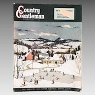 Vintage January 1950 Country Gentleman Magazine Original Complete Winter Scene Cover