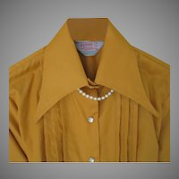 Vintage 1970s Deadstock NOS H Bar C Gold Cowgirl Blouse Tuxedo Tucks S