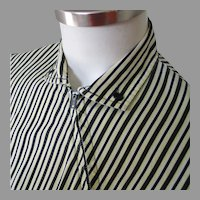 Vintage 1950s Land N Sea Yellow Black White Striped Blouse by Terry Lee M