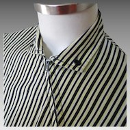 Vintage 1950s Land N Sea Striped Blouse by Terry Lee in Yellow Black and White