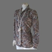 Vintage 1970s Koret of California Turquoise Brown Ivory Paisley Blouse M