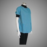 Vintage 1950s Maternity Top Turquoise Black Striped Cotton w Knit Trim L XL