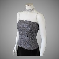 Vintage 1980s Bill Blass Pewter Gray & Silver Floral Lace Bustier M