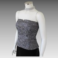 Vintage Late 80s American Designer Bill Blass Pewter Gray & Silver Floral Lace Bustier M