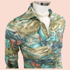Vintage 1970s Teal Dusty Rose Sage Green Victorian Revival Print Disco Blouse S XS