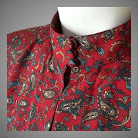 Vintage 1980s Red Teal Cream Gray Novelty Print Blouse Paisley and Deer M