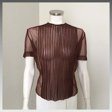 Vintage Sheer Espresso Brown Vertically Tucked Suit Blouse by Judy Bond L XL Volup