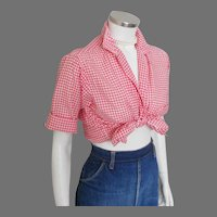 Vintage 1950s Red Gingham Loop Button Blouse w Rollup Short Sleeves  M