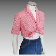 Vintage 1950s Red Gingham Loop Button Blouse with Rollup Short Sleeves by Joyce Lane M