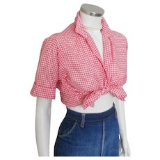 5fa05c55abbb Vintage 1950s Red Gingham Loop Button Blouse w Rollup Short Sleeves M