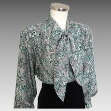 Vintage 1970s Black Teal Green White Paisley Pussy Bow Office Girl Blouse L XL