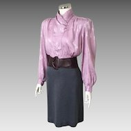 Vintage 1980s Lavender Asymmetrical Blouse Wide Shoulders M L