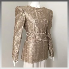 Vintage 1980s Mary McFadden Gold Metallic Thread Lace Tunic Blouse with Belt M L