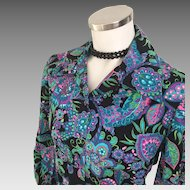 Vintage 1970s Psychedelic Black with Neon Blue Purple Paisley Blouse M
