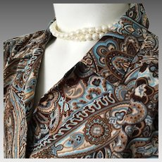 Vintage Koret of California Turquoise Brown Ivory Paisley Blouse M L