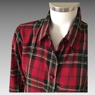 Vintage 1980s Yves St. Clair Black Red Gold White Plaid Long Sleeve Blouse 10 M