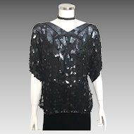 Authentic Vintage 1970s Disco Shimmer Black Glamour Sequined Beaded Top Blouse 44 Dancing Queen