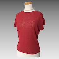 Vintage 1940s Dark Coral Open Knit Sweater Top M L