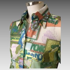 Vintage 1970s Sheer Colorful Gauze Tailored Blouse with Mucha Inspired Novelty Print S M