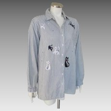 Vintage 1990s Bobbie Brooks Striped Cotton Shirt with Cats and Sequins  XL