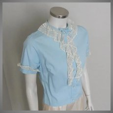 Vintage 1960s Light Blue Cotton Blouse with Softly Ruffled Cream Lace M