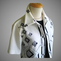 Vintage 1960s Black and White Geometric Border Print Blouse by Oscar M