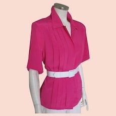 Vintage 1980s Deep Pink Short Sleeved Blouse Top M L