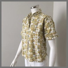 Vintage 1960s Bobbie Brooks Cotton Novelty Print Blouse Short Sleeves with Cuffs M B40