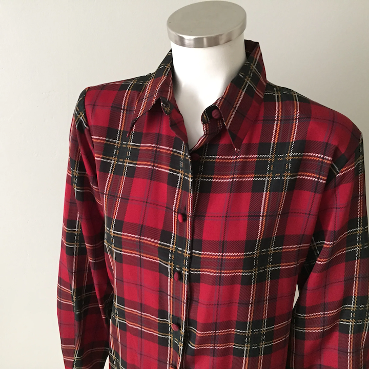 50/% OFF SPRING SALE Vintage 80s Yves St.Clair Black Red Houndstooth Plaid Print Hidden Button Down Long Sleeve Blouse Top Shirt Size Large