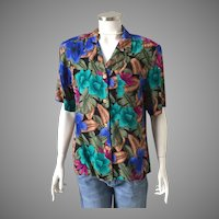 1980s Vintage Leslie Fay Tropical Print Blouse in Jewel Tone Colors M
