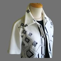 Vintage 1960s Black and White Geo Geometric Border Print Blouse by Oscar M