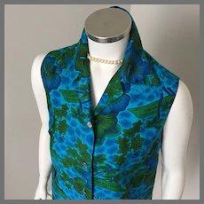 1960s Vintage Blue Green Royal Hawaiian Sleeveless Blouse M