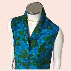 1960s Vintage Blue Green Royal Hawaiian Sleeveless Blouse M