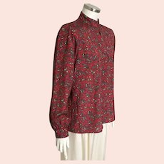 Vintage 1980s Russian Inspired Blouse with Novelty Print of Paisley and Deer M