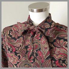 1970s Vintage Black Red Gray Paisley Pussy Bow Tie Office Blouse L