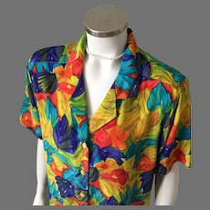 1990s Vintage Brightly Colored Abstract Floral Print Blouse Eva L XL