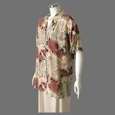 Vintage 1990s Rose Mauve Cream Floral Print Silk Blouse by Adolfo Expressions L XL