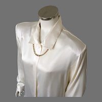 Vintage Late 80s Early 90s  Creamy White Satin Blouse with Padded Shoulders L XL