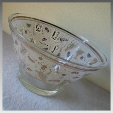 Vintage 1950s 1960s Novelty Print Graphics Cocktail Barware Punch Snack Bowl MCM Wedding Gift