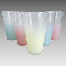 Vintage 1960s MCM Pastel Frosted Barware Bar Ware Beverage Glasses
