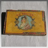 Vintage 1940 La Palina Wood Cigar Box Exotic Woman in a Mantilla