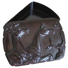 Vintage Hickok Dark Brown Espresso Bakelite Dresser Box with Deer Relief Stag Buck Doe