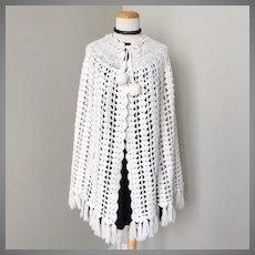 Vintage 1960s White Crochet Cape with Dangle Ball Tied Neckline