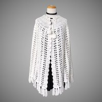 Vintage 1960s White Crochet Cape with Dangle Ball Tied Neckline