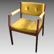 Vintage Authentic MCM 1950s 1960s Mid-Century Modern Wood Chair with Upholstered Seat Back and Arms