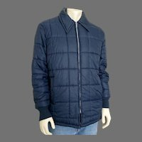 Vintage 1970s Quilted Navy Blue Nylon Jacket Coat with Cozy Faux Fur Lining M  L